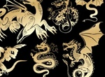 Golden Heraldry Dragons Vector Graphics