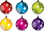 6 Colorful Christmas Ball Ornaments Vector Pack