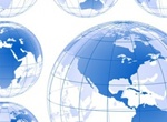 6 Clear Blue Earth Globes Vector Designs