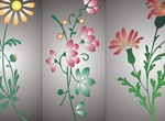 3 Lovely Vector Stemmed Flowers