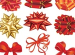 9 Shiny Gold & Red Gift Bows Vector Set