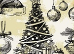 Vintage Hand Drawn Christmas Vector Elements