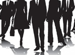 Professional Business People Vector Silhouettes