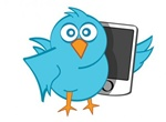 Blue Twitter Bird Mobile Phone Vector Graphic