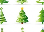 9 Abstract Christmas Tree Vector Graphics