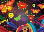 Colorful Butterfly Love Abstract Vector Design