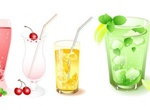 Icy Cold Fruit Drinks Vector Graphics