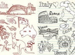 Australia Italy Sketched Theme Vector