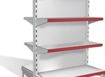 Realistic Metal Supermarket Vector Shelves