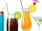 4 Cocktail Style Glasses Vector Set