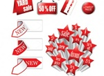 Discount Supermarket With Labels Vector Pack