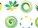 16 Green Swirl Vector Abstract Shapes Set