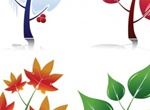 Four Seasons Leaf Vector Shapes