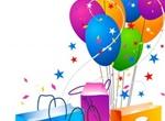 Festive Shopping Bags & Balloons Vector