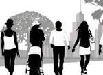 People Silhouettes In Park Vector Graphics
