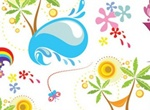 Sun Sea Summer Fun Vector Graphics