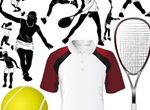 Tennis Action Silhouettes & Equipment Vector Set