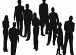 Standing Business People Vector Silhouettes