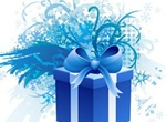 Blue Gift Box With Ribbons Set PSD
