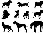10 Different Dog Silhouettes Vector Set
