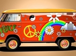 Too Cool Red Hippie Van Vector Graphic
