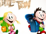 Cartoon School Kids With Backpacks Vector Graphic