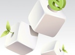White Vector Cubes With Green Ideas