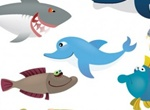 Cartoon Sea Creatures Vector Graphics