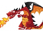 6 Cartoon Dragon Vector Illustrations Set