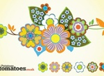 Cool Retro Floral Abstract Vector Graphic