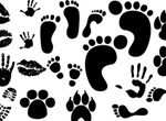 Foot Hand Kiss Paw Prints Vector Set