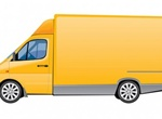 Yellow Delivery Truck Vector Graphic