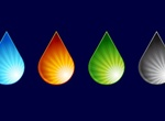 4 Colorful Teardrop Vector Water Drops