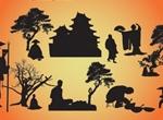 Oriental Vector Silhouette Scenes