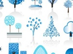 Abstract Blue Winter Trees Vector Elements