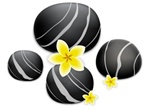 Relaxing Massage Stones & Flowers Vector Graphic