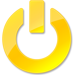 Down, Power, Shut, Yellow Icon