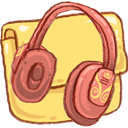 Folder, Headphones, Music Icon