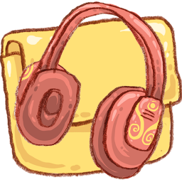 Folder, Headphones, Music Icon