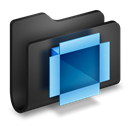 Black, Dropbox, Folder Icon