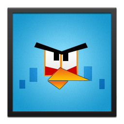 Angry, Bird, Black, Blue, Frame Icon