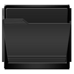 Black, Folder, Open Icon