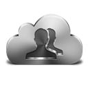Cloud, Contacts, Silver Icon