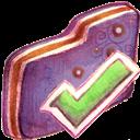 Finished, Folder, Violet Icon