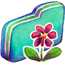 Flower, Folder, Green Icon