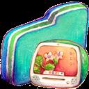 Computer, Folder, Green Icon