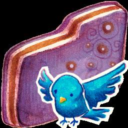 Birdie, Folder, Violet Icon