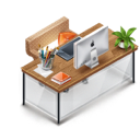 Desk, Furniture, Workstation Icon