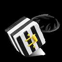 Black, Cube, Strips, White Icon