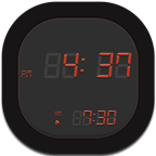 Clock, Digital, Flat, Round Icon
